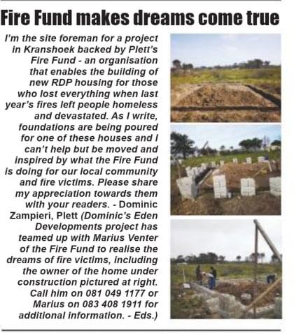 Plett Fire Fund RDP House Eden Developments www.edendevelopments.co.za
