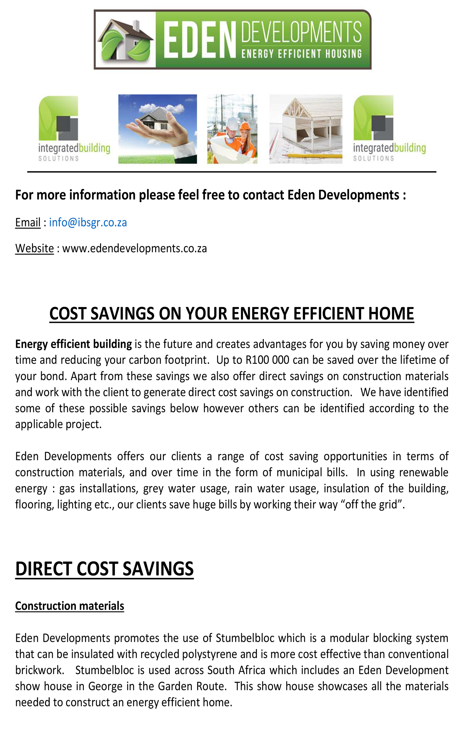 Useful Information Eden Developments