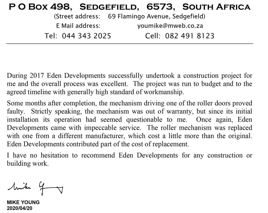 Testimonials Eden Developments www.edendevelopments.co.za